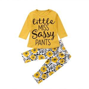 Moda otoño Bebé recién nacido que la impresión del girasol ropa de algodón Establece manga larga tapa de la camiseta + pantalones polainas florales fijaron el equipo