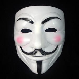 Máscara de Vendetta máscara anónima de Guy Fawkes Disfraz de disfraces de Halloween blanco amarillo 2 colores JXW135