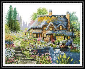 Villa im Wald nach Hause Kreuzstich Kit, handgemachte Kreuzstich-Stickerei Needlework Kits Druck auf Leinwand DMC 14CT / 11CT gezählt