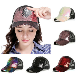 Girl Mesh Outdoor Hat Glitter Baseball Cap Women Snapback Hip Hop Caps Sequins Shine Summer Hats