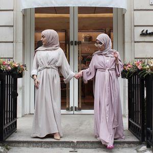 Toptan müslüman kadın bandaj uzun kollu kaftan dress s-2xl artı boyutu kadınlar akşam parti jilbab dress