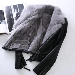 Faux Fur Coat Rex Rabbit Fur Collar PU Leather Jacket cappotto femminile autunno inverno del cappotto di vestiti delle donne 2019 coreano Tops ZT4466 T191027
