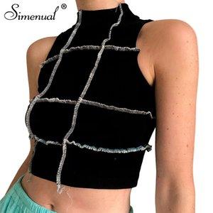 Simenual Patchwork Bodycon Frill Tank Tops Women Casual Sleeveless Streetwear Summer 2020 Crop Top Fashion Ribbed Skinny Tank
