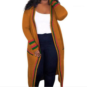 Stripe Womens Outerwear lungo nastro Plus Size molla delle signore del progettista Cardigan Cappotti femminile Abbigliamento Rosso Verde