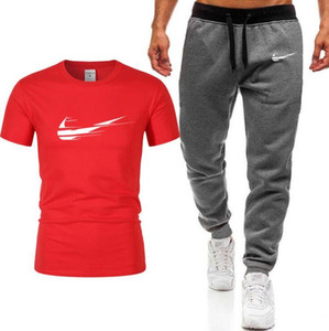 Treino dos homens Jogger Define Moda carta impressão agasalhos Pieces Men 2 camisetas Top + Longo Sportwear Masculino Shorts Conjuntos Plus Size M-2XL