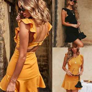 Women Dress Womens Dresses Summer Women Holiday Strappy Summer Backless Sexy Ruffles Sleeveless Frill Hem Ladies Beach Mini Dress