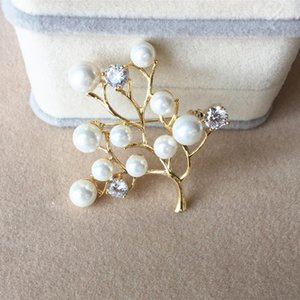 New Fashion Women Large Crystal Brooches Lady Tree Imitation Pearls Rhinestones Brooch Pin Wedding Party Jewelry Bijoux Gifts 10pcs lot