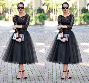 Tea Length Evening Dresses Long Sleeves Jewel Black Lace Long Wedding Party Dresses A Line Evening Gowns CMHP0068