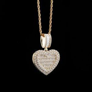 Designer Heart Box Photo Necklaces Fashion Customized DIY Bling Zircon Men Women 18K Gold Rhodium Plated Hip Hop Pendant Necklaces