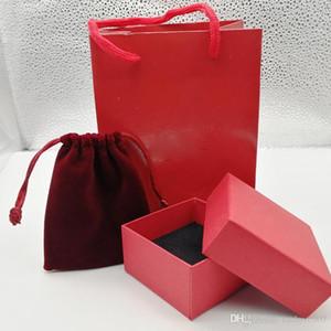 La manera caliente rojo / naranja / color del paquete caja de pulsera blanco / verde fijó el bolso original y caja de regalo de la joyería bolsa velet, por favor, comprar con la joyería