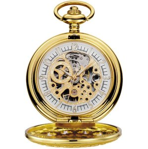 10pcs lot Vintage Gold Mechanical Pocket Watch With Chain Retro Skeleton Men White Dial Steampunk Mechanical Clock Necklace
