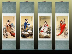 4 Pc lot Traditional Chinese Pretty Girls Painting Home Office Decoration Beautifull Women Painting1906181723