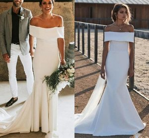 2020 Summer Country Garden Mermaid Wedding Dresses Simple Satin Off Shoulder Long Bridal Gowns Wedding Dress Vestidos De Novia