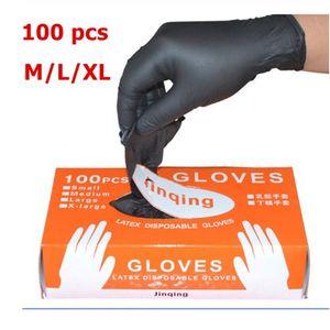 Luvas 100PCS encaixotado descartáveis de borracha luvas de látex Food Limpeza doméstica anti-estático luvas Laboratório Preto Nail Art Anti-Static