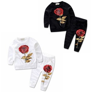 Малыш девушки одежда Set Rose вышиванки Брюки 2pcs наборы Блеск ребёнка Эпикировка Мода Детской одежда Черная Белый DW4404