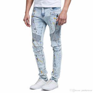 Mens Fashion Designer strappate scarne Biker Jeans Distressed blu denim pantaloni Drapped elastico pantaloni lunghi Joggers Streetwear