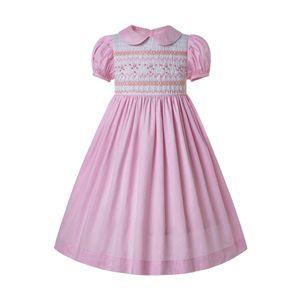 Предпродажное летнее недорогое платье с запахом для малышей Smocked Bubble Baby smocking dresses Pink Girl Costumes G-DMGD204-A290 T200624