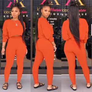 Cep Eşofman Kadınlar Katı 5 Renk Plus Size 2XL ile 2020 O-boyun İki adet Seti Uzun Kollu Kazak + Pant Suit