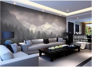 Les photos murales de papier peint sur mesure 3D peinture murale papier peint mur murale montagne paysage idyllique neige simple pin immense forêt paysage de fond