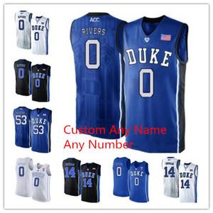 2019 Остин Риверс Джерси NCAA Duke Blue Devils # 0 Остин Риверс Duke Blue Devils Белый Черный Синий v-образный вырез Колледж Джерси Custom Any Name