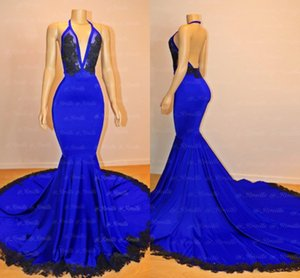 Simple Royal Blue Mermaid Vestidos de baile 2019 Nuevo diseño Halter Neck Backless Negro Appliqued vestidos de noche largos por encargo