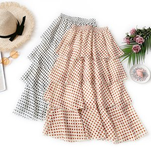 2019 New Fashion Spring Summer Women's High Waist sweet Polka Dot Skirt All-match Students Casual Chiffon Long Cake Skirts