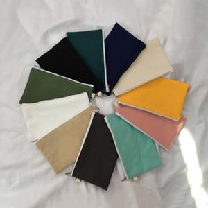 Simplicité Blank Canvas Zipper Crayon plumiers Pouches coton cosmétiques Sacs de maquillage téléphone portable Sac d'embrayage