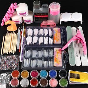 Kit de herramienta del arte Pro acrílico de Uñas de manicura con líquido de acrílico del brillo del clavo extremidades polvo cepillo decoración