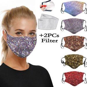 Мода 3D печать Блестка Защитной маски РМ2,5 пыл рот Маска моющихся многоразовые Женщины маска для лица с фильтром 2pcs