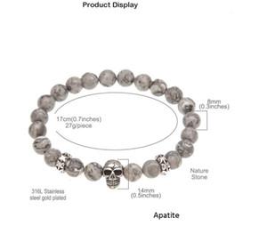 Новый натуральный камень мужской ювелирные изделия Апатит бусины браслеты рок-н-ролл хип-хоп панк ювелирные изделия