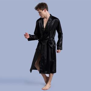 Hommes Simulation en satin de soie à manches longues Robes Pyjama Kimono Homme de nuit solide Peignoir Loisirs hommes Loungewear Robe de chambre 4 couleurs DHL