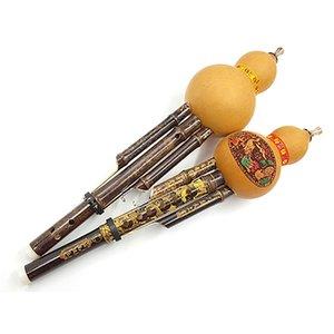 Cinese Handmade tradizionale Hulusi bambù nero zucca Cucurbitacee Flauto Persone Strumento musicale Tasto C per principianti