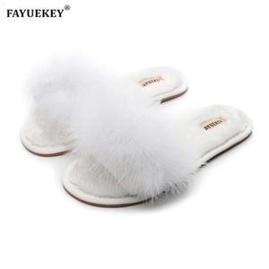 FAYUEKEY 2020 Nouveau Printemps Été Hiver Accueil coton en peluche fourrure Pantoufles femmes Intérieur étage Chambre Chaussures plates Livraison gratuite