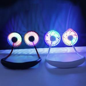 Presentes na moda portátil fã pendurado no pescoço com LED colorido luz esportes Wearable ventilador de mesa recarregável USB