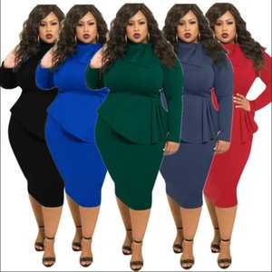 Women's fashion large autumn evening dress irregular Ruffle Skirt bottom dress solid color long sleeve dress