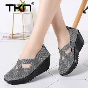TKN New 2019 Spring platform slip on casual hand made woven wedge sandals women Footwear Shoes 833 Y200702