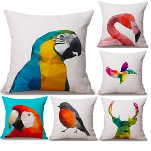 Diamond Parrot Deer Flamingo Neck Body Pillowcase Linen Bed Pillows Cover Couch Seat Cushion Throw Pillow Home Decoration Gift