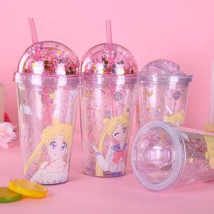 Garrafa de água do copo comestível Double-Layer caneca de plástico Unicorn squin estrelas Juice Cup INS criativa dos desenhos animados do copo de café com tampa e LJJA3844 Straw