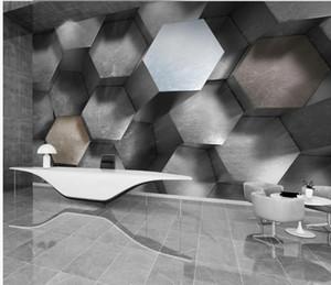 Custom 3d wallpapers Three-dimensional geometric three-dimensional gray black and white European modern 3D wind background wall