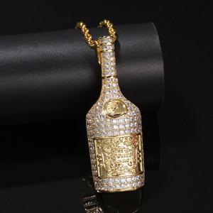 New Hip Hop oro argento bottiglia Whiskey ciondolo collana Micro Pave Zircone Iced Out gioielli uomo donna regalo