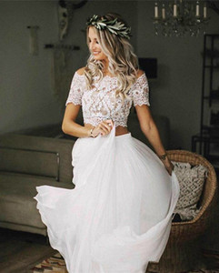 Chic Bohemian Lace Wedding Dresses 2 Pieces Short Sleeves Lace Top Chiffon Skirts Boho Bridal Gowns Beach Wedding Gowns Custom Made