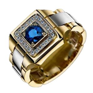 Blue Stone Square Gold Color Copper Alloy Men Ring Engraved Dragon Male Rings