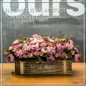 Korb der künstlichen Blume der Wohnzimmernachahmung eingemachter dekorativer Zaundekorationsplastikblumenstrauß-Betriebshaushalt