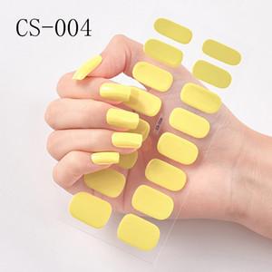 Наклейки куча наклейки наклейки 16Tips Pure Color Yellow Diy Nail Wraps Full Cover Наклейки Ногтя Художественные Украшения Маникюр Клей Польские Ногти VA ...