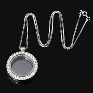 Tsunshine Living Memory Floating Charm Round Glass Locket Pendant Necklace 20 Inches 1pcs Silver Tone White Crystal
