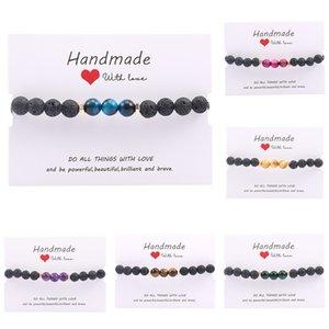 Natural Bracelet Elastic Force Hand White Pine Stone Sand Tigereye Volcano Stone Manual A String Of Beads Bracelet Vintage Party