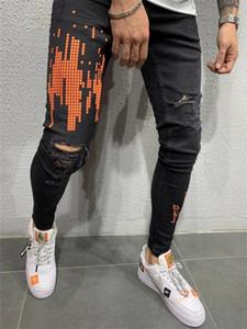 Vaqueros para hombre Naranja de impresión de letras rasgado pantalones apenado de la motocicleta Diseño elástico Lavado Calle retro de la manera Pantalones vaqueros