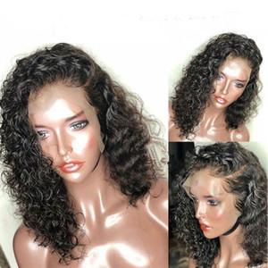 2019 neueste Frisur Mode schwarze Perücke kurze lockige Haare Lace Front Perücken für Frauen