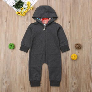 Infants children's clothing long-sleeved stitching hooded rompers children's clothing boys girls jumpsuits spring autumn