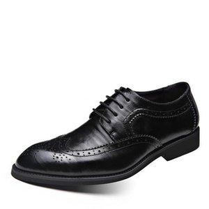 Nuovo Bullock alta qualità del cuoio genuino Uomo Scarpe brogue scivolare su Bullock uomini d'affari Oxfords Scarpe Uomo Appartamenti plus size 39-48